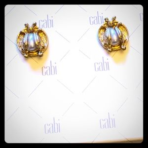 CAbi lady bug earrings with pearl.